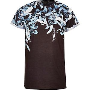 Black Oriental shoulder print t-shirt