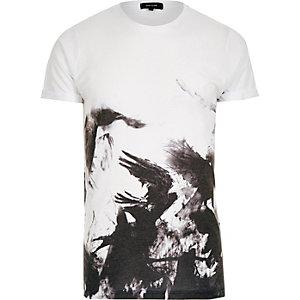 White abstract bird print t-shirt