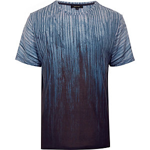 Blue faded wood print t-shirt