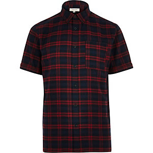Navy check flannel short sleeve shirt