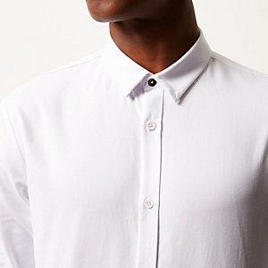 White textured slim shirt
