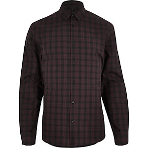 Dark red check slim shirt