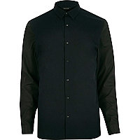 Navy contrast sleeves slim shirt