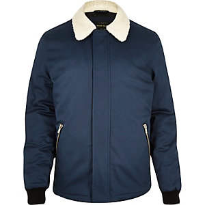 Navy fleece coach jacket