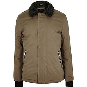 Khaki fleece coach jacket