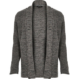 Grey textured open front cardigan