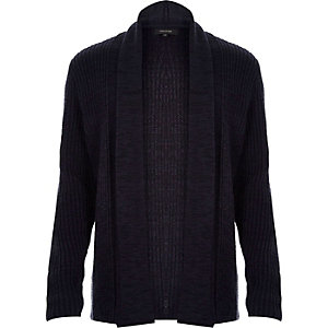 Navy knitted textured cardigan