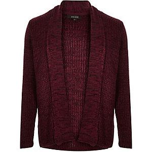 Dark red textured open front cardigan