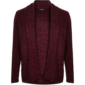 Dark red textured open front cardigan