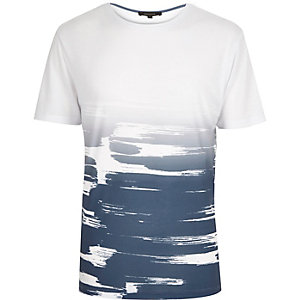White faded paint stroke print t-shirt