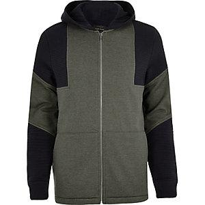 Grey block panel hoodie