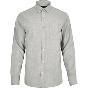 Light grey flannel slim shirt