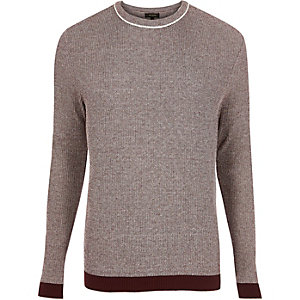 Dark red ribbed crew neck slim fit sweater