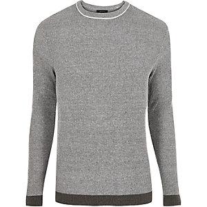 Dark grey ribbed crew neck slim fit sweater
