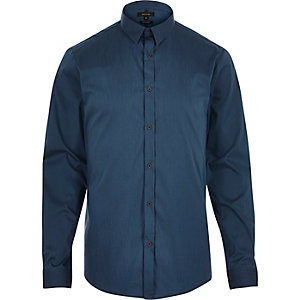 Blue stretch long sleeve slim shirt