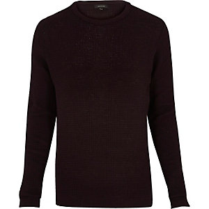 Dark purple waffle long sleeve sweater
