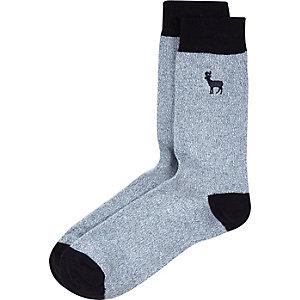 Navy stag socks