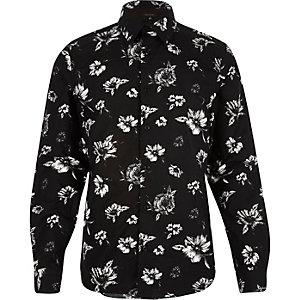 Navy floral print slim shirt