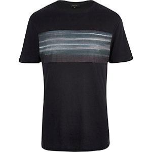 Dark blue faded front print t-shirt