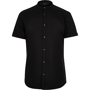 Black short sleeve grandad slim shirt