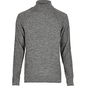 Dark grey ribbed roll neck slim fit sweater
