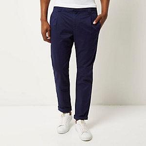 Navy slim chino trousers