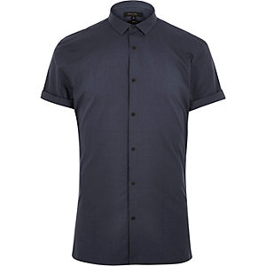 Blue short sleeve popper shirt