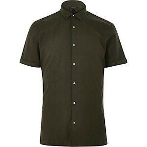 Khaki green short sleeve popper shirt