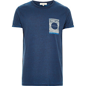 Blue square print t-shirt
