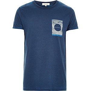 Blue square print t-shirt