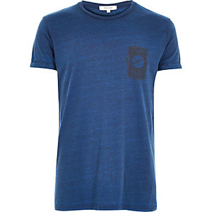 Blue textured geometric print t-shirt