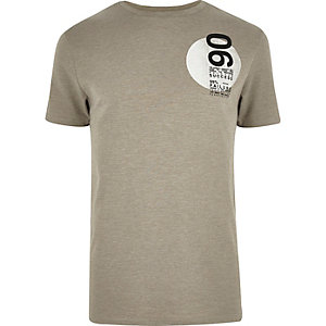 Grey circle slogan print t-shirt