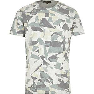 Ecru geometric shape print t-shirt