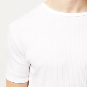 White essential ribbed slim t-shirt