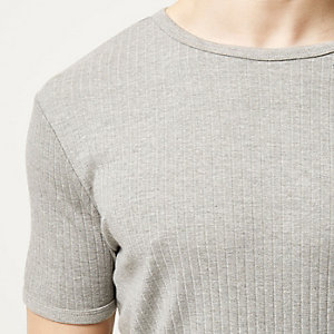 Grey marl essential ribbed slim fit t-shirt