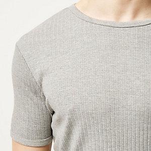 Grey marl essential ribbed slim fit t-shirt