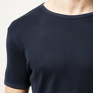 Navy essential ribbed slim t-shirt