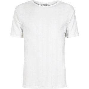 White varied ribbed slim t-shirt