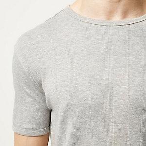Grey varied ribbed slim t-shirt