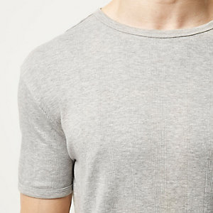 Grey varied ribbed slim t-shirt