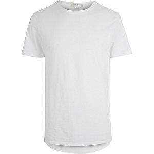 White longer length curved hem t-shirt