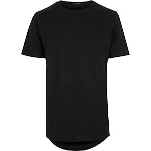 Black elongated curved hem t-shirt