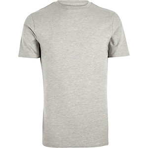 Grey marl muscle fit T-shirt
