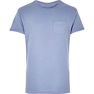 Blue plain chest pocket t-shirt