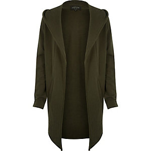 Khaki longline waterfall hooded cardigan