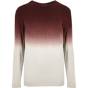 Dark red faded dip dye sweater