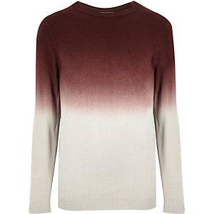 Dark red faded dip dye sweater