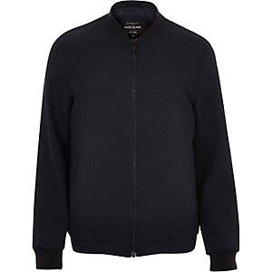 Navy smart tailored bomber jacket