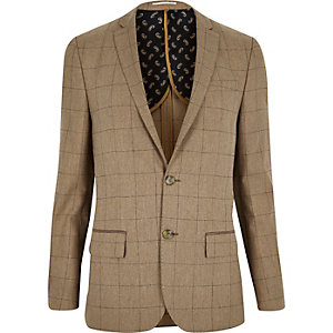 Camel check wool-blend skinny blazer