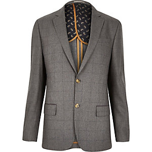 Grey check tailored blazer